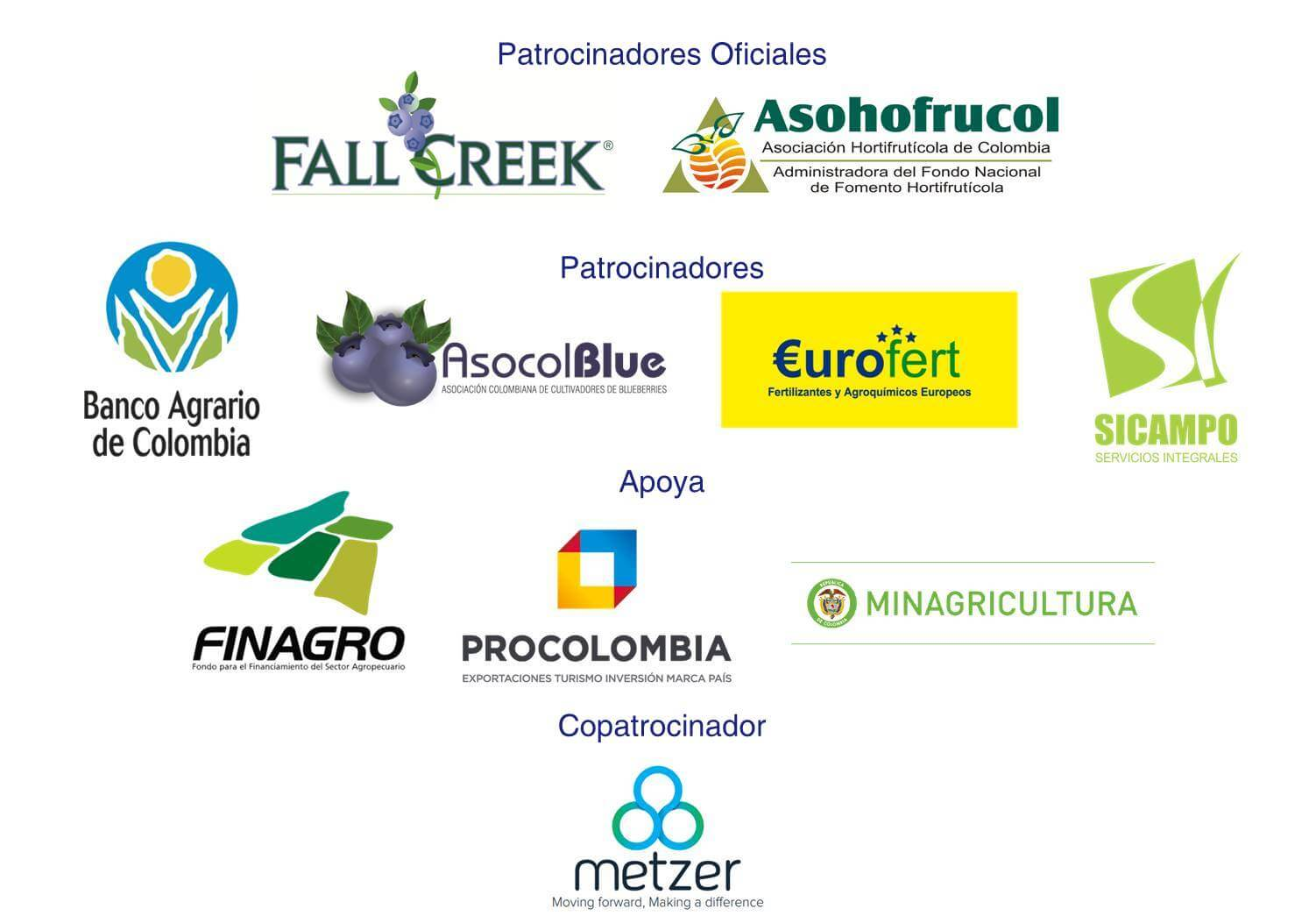 patrocionadores y colaboradores del programa internacional de arándanos en colombia